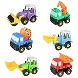 6 Pièces Véhicules de Construction Enfants Mini Engins Équipe Jouet Varié Miniature Kit pour Garçon Fille