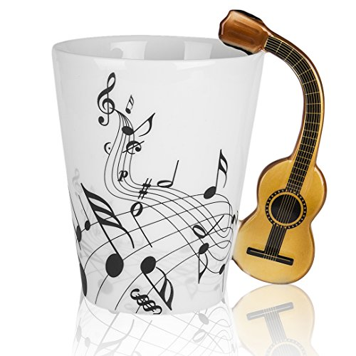 (LanHong - 13.5 oz Musical Notes Design Guitar Mug Drink Tea Milk Coffee Mug Music Ceramic Cup Gift for Friend)