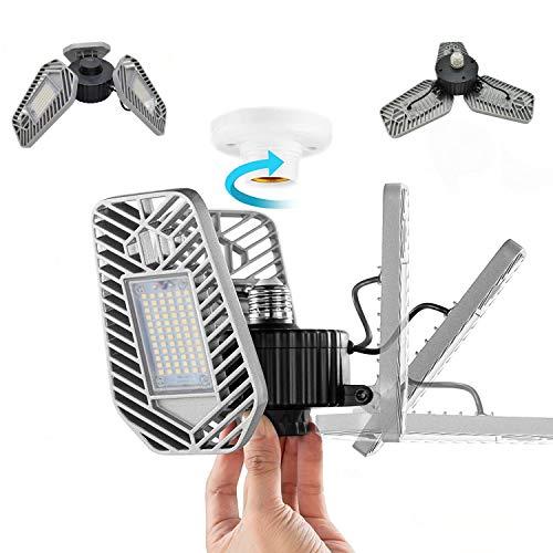2Pack Garage Lights Ceiling LED,82W 8000Lm LED Garage Lighting Deformable LED Garage Lights E26 Garage LED Bulb, 6000K…