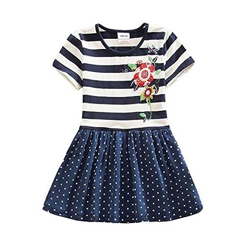 VIKITA Toddler Kid Girls Summer Casual Flower Short Sleeve Cotton Dress SH5908NAVYDOT 3-4 Years - Together Short Sleeve Dress