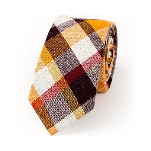 Blue Plaid Tie - TAGERWILEN 100% Cotton Orange Plaid Skinny Tie (Orange)