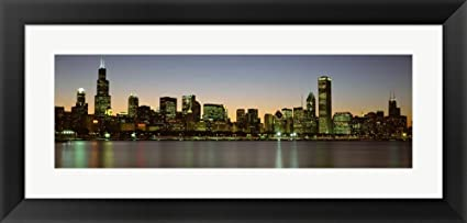 Amazon Com Chicago Skyline At Dusk Il By Panoramic Images Framed
