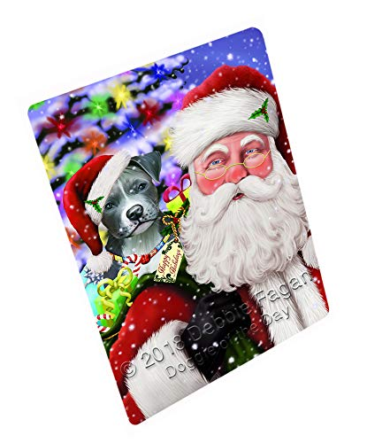 Santa Carrying Pit Bull Dog and Christmas Presents Cutting Board C66453 (Small 12