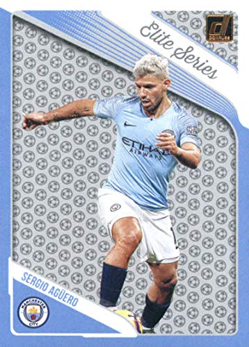 2018-19 Donruss Elite Series #11 Sergio Aguero Manchester City Soccer Card (City Elite Series Single)