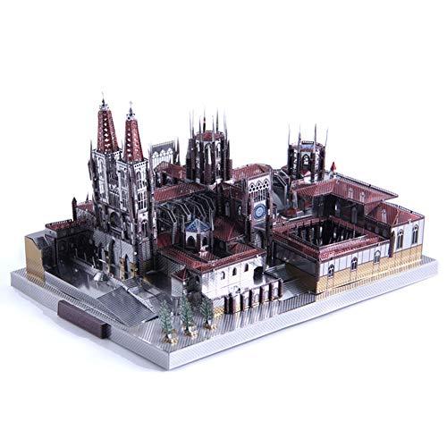 3D Metal Puzzle Famous Architecture Assemble Model Building Kit DIY Laser Cut Jigsaw - Microworld J046 Spain Burgos Cathedral ()