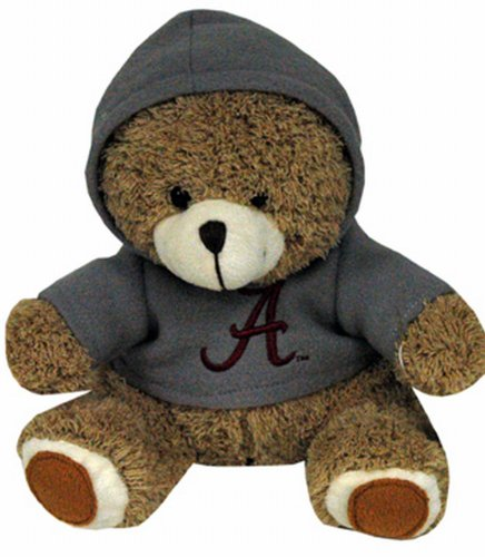 NCAA Alabama Crimson Tide Plush Bear with Logo Hoodie, Team Color Teddy Bear Adult Sweatshirt