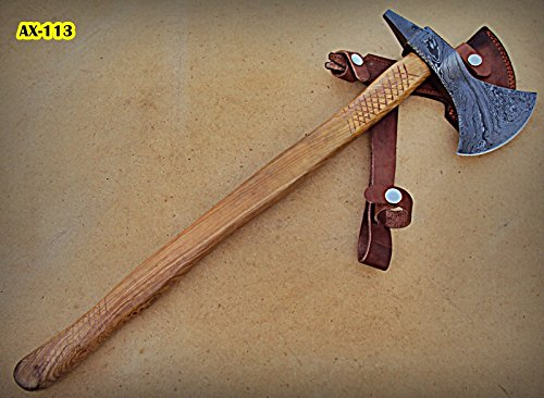 Ax-113, Handmade Damascus Steel 21 inches Beautiful Axe – Best Quality Olive Wood Handle