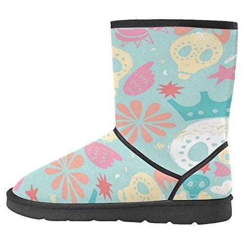 InterestPrint Womens Snow Boots Unique Designed Comfort Winter Boots Wonderful Funny Skulls with Stars Multi 1 4L4AP
