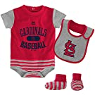 St. Louis Cardinals MLB Infant Baseball Property Bodysuit, Bib & Bootie Set (0/3M)