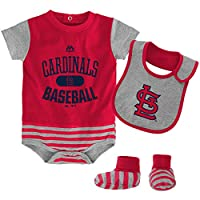 St. Louis Cardinals MLB Infant Baseball Property Bodysuit, Bib & Bootie Set (...