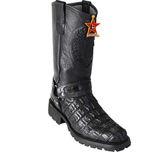 Original Black Caiman (Gator) Tail Leather Biker Toe Boot