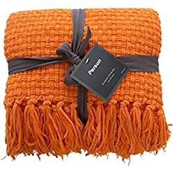 "PERSUN Lightweight Throw Blanket Soft Decorative Knit Blankets Fringe Sofa Couch Home Decor, 50"" x 60"", Orange"