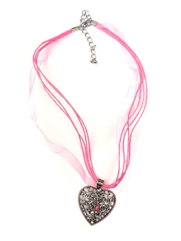 Trachten Halskette Herz Strass rosa