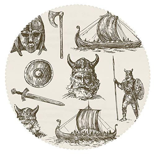 iPrint Mildew Resistant Round Tablecloth [ Viking,Ancient War Figures Sword Shield and Warriors Mask Dragon Head Ship Medieval,Dark Brown White ] Fabric Home Set