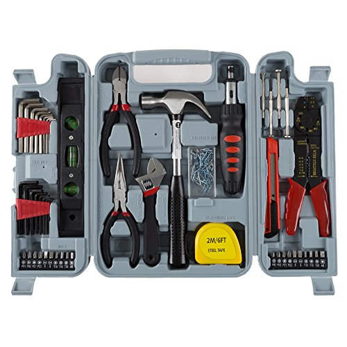 Household Hand Tools, 130 Piece Tool Set by Stalwart, Set Includes – Hammer, Wrench Set, Screwdriver Set, Pliers (Great for DIY Projects) (Tools Hands)