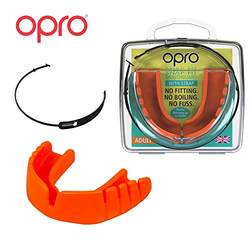 OPRO Mouthguard Snap-Fit Gum Shield + Strap for Ball, Combat and Stick Sports -18 Month Warranty (Adult and Kids Sizes) (Neon Orange, Kids)