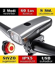 Fahrradlicht LED Set, Fahrradbeleuchtung 60 Lux 2 Leuchtstärke, Fahrradlichter USB Aufladbar, Fahrradlicht Akku Vorne Hinten Fahrrad Licht Frontlicht Rücklicht, Fahrradlampe Set IPX5 StVZO Zugelassen