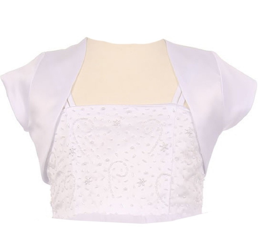 BluNight Collection Satin Short Cover Shoulder Bolero Little Girl Special Occasion Bolero