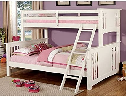 Amazon Com Bowery Hill Twin Over Queen Bunk Bed In White Furniture Decor