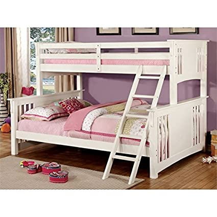 Amazoncom Bowery Hill Twin Over Queen Bunk Bed In White Kitchen