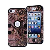iPod Touch 5 Case,iPod Touch 6 Case, LOOKLY 3 in 1 Hybrid Shockproof High Impact Camouflage Hunting Tree Forest Protective [Hard PC+Soft Silicone] Case For Apple iPod touch 5 6th Generation (Black)