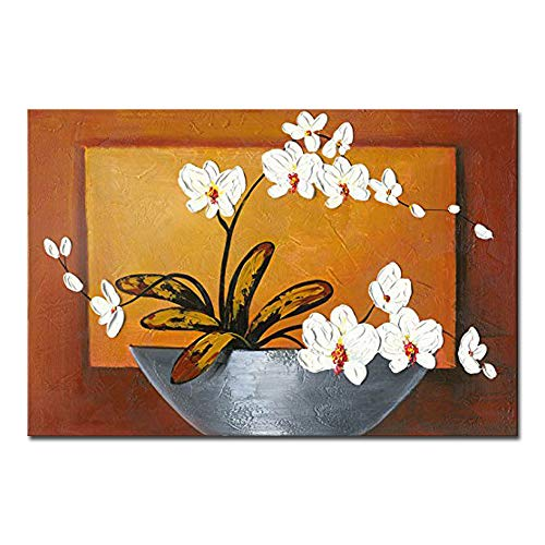 (Wieco Art Orchid Floral Oil Paintings on Canvas Wall Art Ready to Hang for Living Room Bedroom Home Decorations Modern 100% Hand Painted Modern Stretched and Framed Abstract Pretty Flower Art Work)