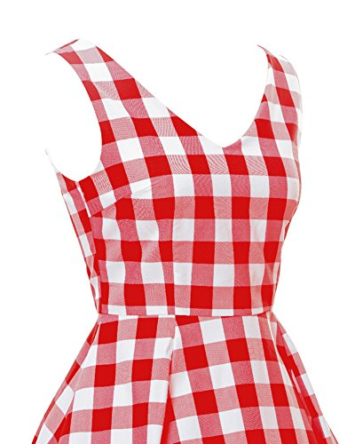 LaoZan Cuello en V Retro Sin mangas Vestido de Rockabilly Plaid vestido de fiesta Vestido de cócte Rojo
