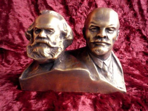 (МАРКС ЛЕНИН USSR SOVIET RUSSIAN COMMUNISTIC LEADERs KARL MARX & LENIN BUST METAL STATUE)