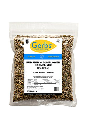 Salted Pumpkin & Sunflower Seed Mix, 2 LBS By Gerbs - Top 12 Food Allergy Free & NON GMO - Vegan & Kosher - Premium Dry Roasted Seeds Produced in Rhode Island -