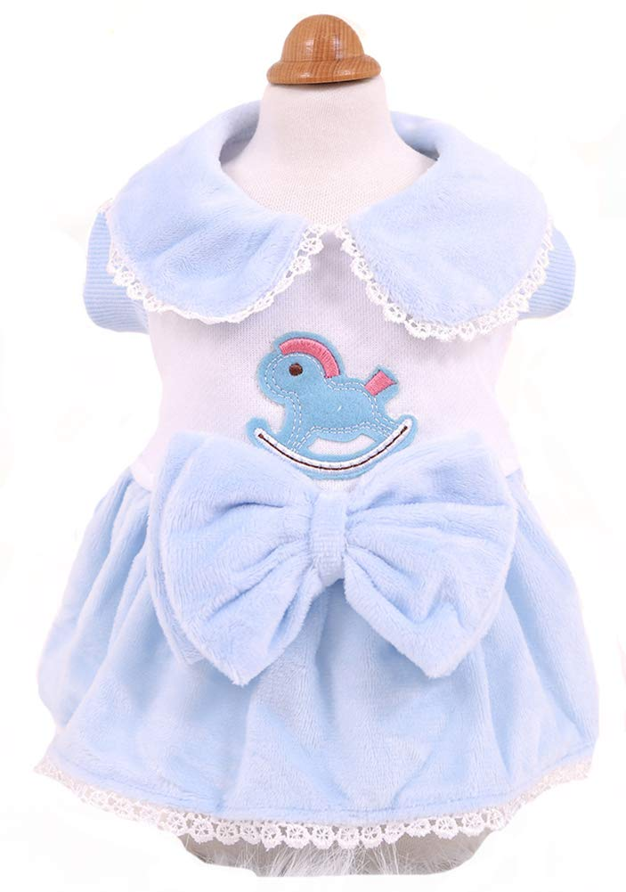 MaruPet Puppy Clothes Brushed Wooden Horse Skirt Autumn and Winter Warm Thick Sweater Such as Teddy Pet Dog B-Blue XL