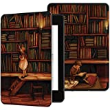 Ayotu Water-Safe Case for Kindle Paperwhite 2018 - PU Leather Smart Cover with Auto Wake/Sleep - Fits Amazon All-New Kindle Paperwhite Leather Cover (10th Generation-2018),K10 The Library