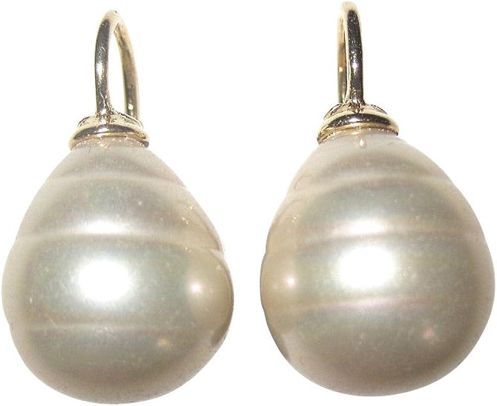 Pendientes de perlas de color champán con perla de cristal barroco de perla de plata de ley chapada en oro, clásico, boda, cumpleaños, Heide Heinzendorff