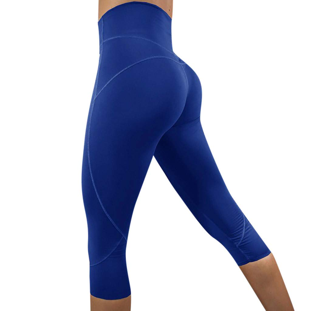 NUWFOR Women's Fashion Solid High Waist Leggings Running Sports Gym Yoga Athletic Pants(Blue,L US Waist :27.5-31.5'')