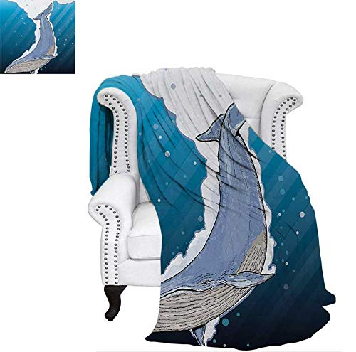 Lightweight Blanket Cartoon Whale Swimming Under Ocean with Fish Shells Near Palm Island Environment Digital Printing Blanket 70