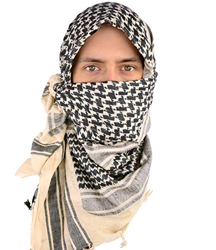 (Mato & Hash Military Shemagh Tactical 100% Cotton Scarf Head Wrap - Tan/Black CA2100-2)