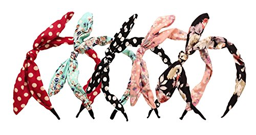 Qiabao Womens 5 Pack Assorted Bow Tie Hard Headband Hair Band