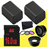 TWO BP-819 Lithium Ion Replacement Battery + 16GB SDHC Class 10 Memory Card + 43mm 3 Piece Filter Kit + Wide Angle Lens + 2x Telephoto Lens for Canon Vixia HFM40 HFM41 HFM400 HV30 Digital Camcorders DavisMAX BP819 Accessory Bundle