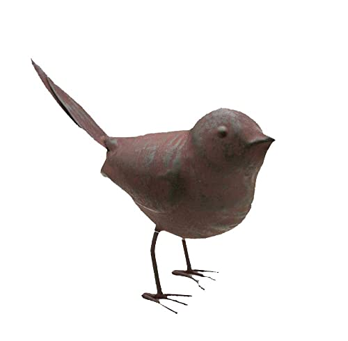Colonial Tin Works Decorative Small Cute Songbird Song Bird Statue Figurine for Home or Garden with Feet, Metal, Rustic Farmhouse Cottage, Rust Color, 5.5 L x 2 W x 4 H, 1 Piece