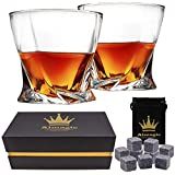 Almagic Old Fashioned Glasses Set of Two Lead Free Crystal Twist Whiskey Glasses 11oz for Scotch or Bourbon with Luxury Gift Box +Free Gift (9 Pcs Garnite Whiskey Stones in Velvet Bag)
