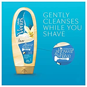Gillette Venus with Olay Shower & Moisturizing Shave Cream, Vanilla Crème, 10 Ounce, Pack of 6
