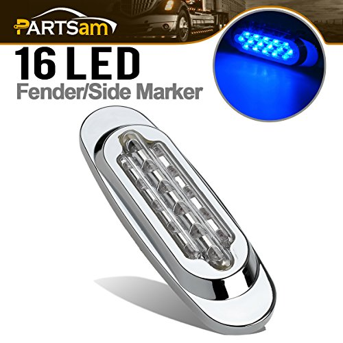 (Partsam Blue Led Light Oval Marker Clearance Light Chrome Trim Ring Flush Mount Clear Lens)