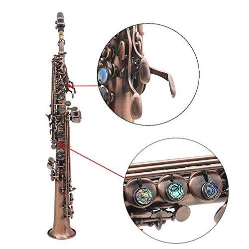 LADE WSS-899 Copper Soprano Bâ­ Saxophone Carved Abalone Shell Key by SOUND HOUSE 48 (Image #4)