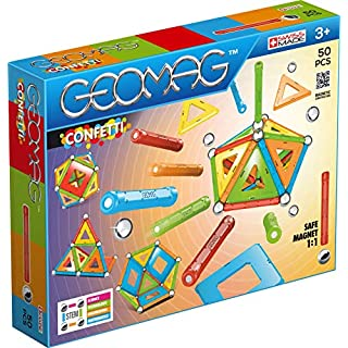 Geomag - CONFETTI - 50-Piece Magnetic Building Set, Certified STEM Construction Toy, Safe for Ages 3 and Up