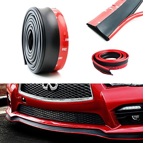 iJDMTOY Universal Black PU Front Bumper Lip Splitter Chin Spoiler Body Kit Trim, 8ft (2.5 Meters) with Removable Red Trim
