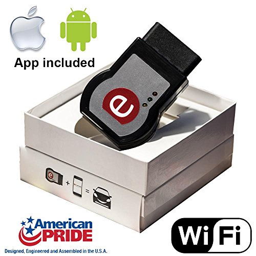 eDriveCARE - Easy Car Diagnostic Check Engine light Wifi scanner tool reader & mobile app for iPhone iOS Android - OBD OBD2 OBDII Compatible ELM327