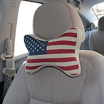 Vitodeco National Flag Bone Shape Memory Foam Head Rest Car Neck Pillow - Neck Pillow; Car Pillow; Neck Rest Pillow; Neck Support Pillow for Car Decoration & Cushion (USA)