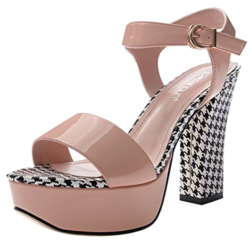 Summer Style Fashion Peep-toe Rough High Heel Leather Vamp Women Shoes(6 B(W) US, pink)