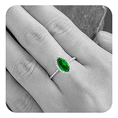 Dabangjewels Marquise Cut Created Emerald & Diamond Plated Wedding Engagement Ring for Women's