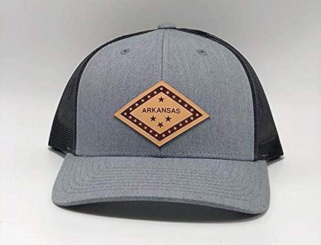 1aeebcaf Amazon.com: Stoked Hats - Handmade Arkansas Baseball Snapback Style  Comfortable Custom Patch Hat, 100% Leather - (Gray/Black): Handmade