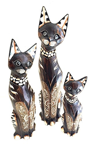 OMA Large Hand Carved Stunning Cat Statue Set of 3 Cats Family Cat Home Decor Federal TM Brand